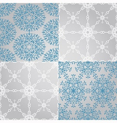 Seamless patterns with snowflakes fully vector