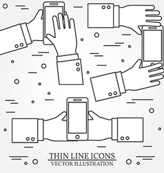 set hands holding mobile phonethin line icon vector image