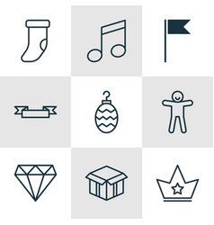 Set of 9 new year icons includes open cardboard vector