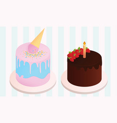 set of birthday cakes birthday party elements vector image