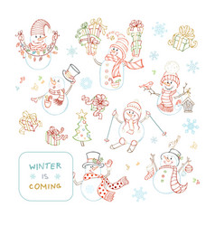 Set of cute outlined snowmen vector