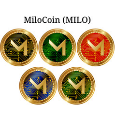 Set of physical golden coin milocoin milo vector