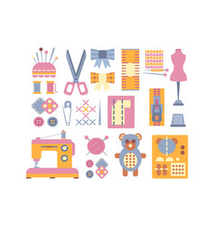 Sewing supplies and tools set elements for vector