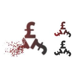 Shredded pixel halftone pound trinity icon vector