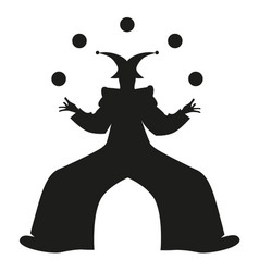 silhouette retro style clown juggling balls vector image