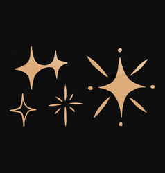 Sparkly stars gold space doodle sticker vector