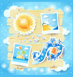 summer background with paper elements vector image