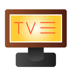 television flat icon display color icons in vector image