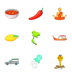 thailand travel icons set cartoon style vector image