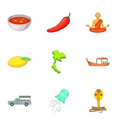 Thailand travel icons set cartoon style vector