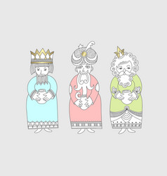 three kings for christian christmas holiday - vector image