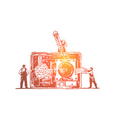 tiny technicians fixing old fashioned camera vector image