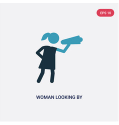Two color woman looking a spyglass icon from vector