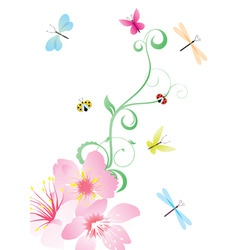 Vector flower corner with butterflies vector