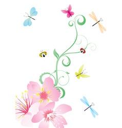 vector flower corner with butterflies vector image