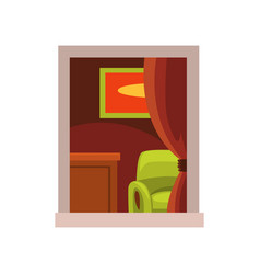 view on room interior from the street green vector image