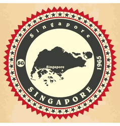 Vintage label-sticker cards of Singapore vector image