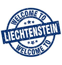 Welcome to liechtenstein blue stamp vector