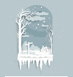 winter night paper cut vector image