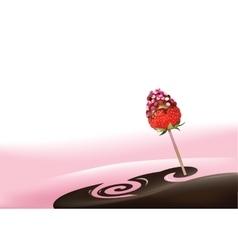 Yogurt and strawberry vector