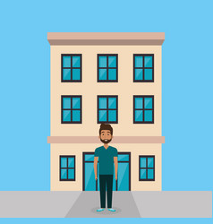 young man in the street character scene vector image