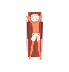 young man sunbathing on beach towel top view of vector image