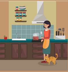 A woman is cooking dinner kitchen interier vector