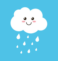 cloud character with rain drops on blue background vector image