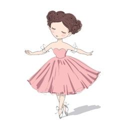 Cute ballerina girl vector image