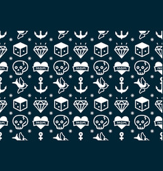 old school tattoo hipster style seamless pattern vector image