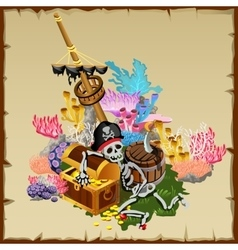 Pirate treasure fragment ship and skeleton guard vector image