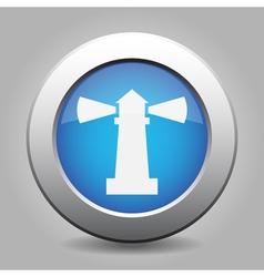 Blue metallic button white lighthouse icon vector