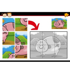 cartoon pig jigsaw puzzle game vector image vector image