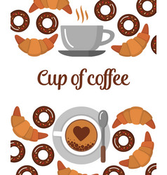 coffee croissants and donuts background vector image