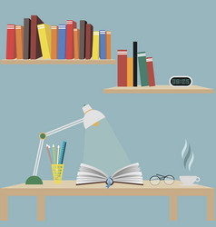 one open book on the table the light of the desk vector image vector image
