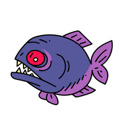 piranha cartoon hand drawn image vector image
