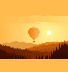 sun landscape and balloon flying vector image vector image