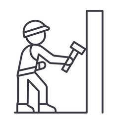 worker builder with hammer line icon sign vector image vector image