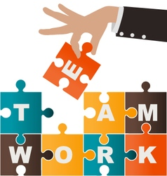 Businesswoman assembling puzzle with teamwork vector image vector image