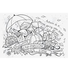 cartoon doodles at autumn vector image vector image
