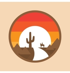 Cowboy on a horse in the desert cactus sunset vector image vector image