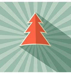Paper Tree Retro on Green Background vector image