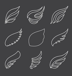 wings set on gray background vector image vector image
