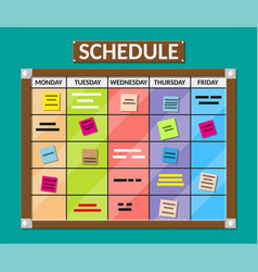Bulletin board full of tasks on sticky note cards vector