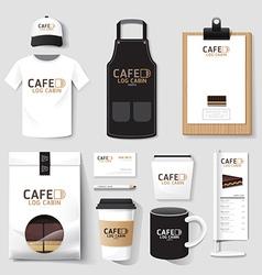 restaurant cafe set flyer menu package t-shirt cap vector image vector image