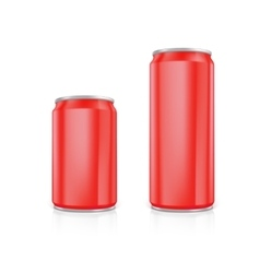 Set of red blank aluminium cans vector image vector image