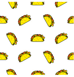 taco mexican food seamless pattern vector image