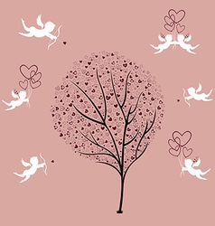 Tree of Love and Angels vector image vector image