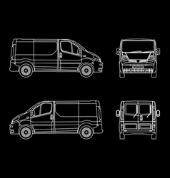 white linear car cargo minivan isolated on vector image vector image