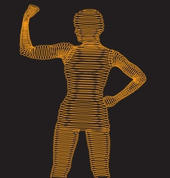 Wireframe Body Flexing Muscle vector image